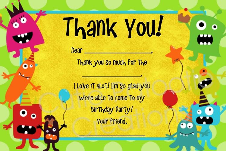 Free Children S Birthday Thank You Notes ~